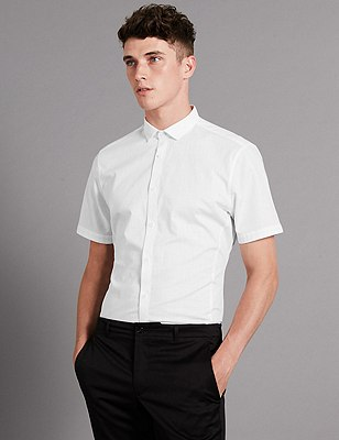 Luxury Supima® Cotton Slim Fit Shirt, WHITE MIX, catlanding