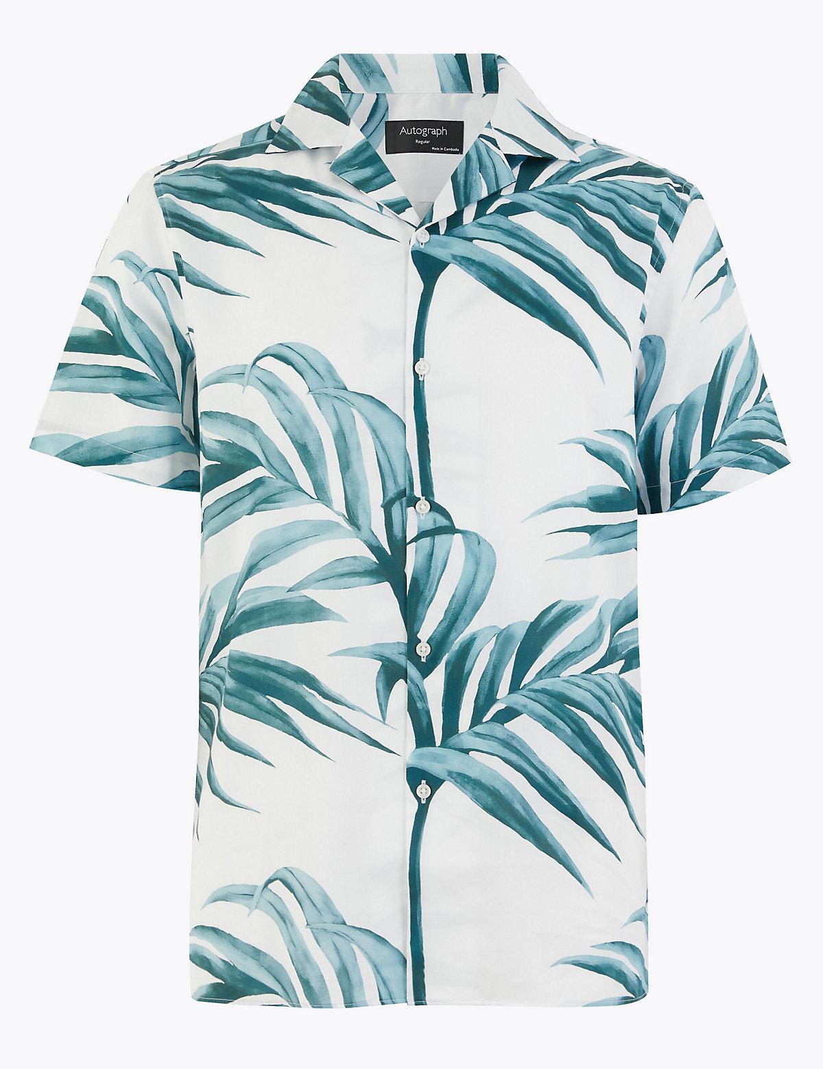Рубашка из чистого хлопка с пальмовым принтом и отложным воротником