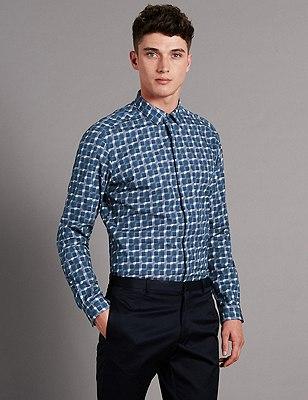 Pure Cotton Digital Print Long Sleeve Luxury Shirt, MID GREY, catlanding