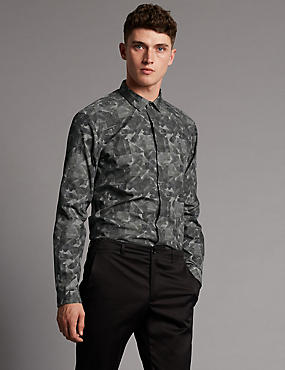Supima® Pure Cotton Tailored Fit Long Sleeve Shirt, DARK GREY, catlanding
