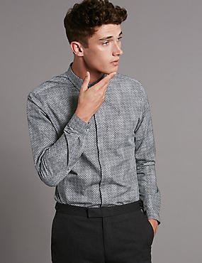 Supima® Cotton Slim Fit Long Sleeve Casual Shirt, BLACK MIX, catlanding