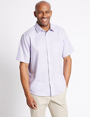 Pure Cotton Textured Shirt with Pocket, VIOLET, catlanding