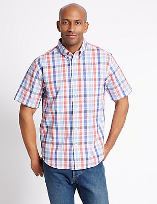 Cotton Rich Checked Shirt with Pocket, PAPRIKA, catlanding