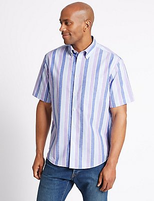 Cotton Rich Striped Shirt with Pocket, VIOLET, catlanding