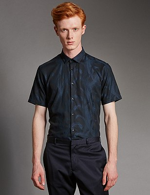 Luxury Pure Cotton Jacquard Leaf Print Shirt, NAVY, catlanding