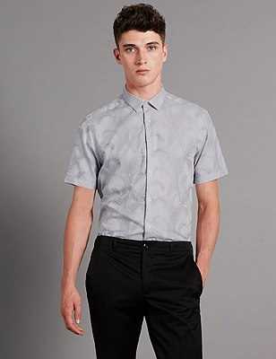 Luxury Pure Cotton Jacquard Leaf Print Shirt, SILVER GREY, catlanding