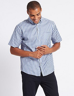 Pure Cotton Striped Shirt with Pocket, LIGHT AIRFORCE, catlanding