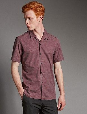 Pure Cotton Luxury Textured Shirt, CLARET, catlanding