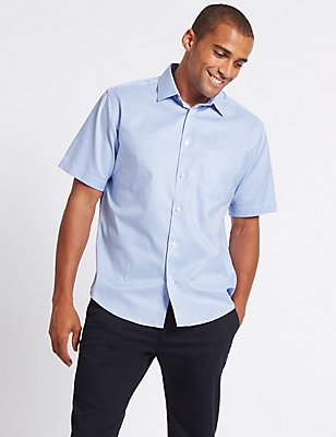 Pure Cotton Textured Shirt with Pocket, BRIGHT BLUE, catlanding
