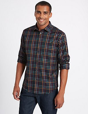 Luxury Pure Cotton Checked Shirt , MIDNIGHT MIX, catlanding