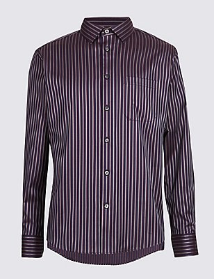 Luxury Pure Cotton Striped Shirt, DARK INDIGO, catlanding