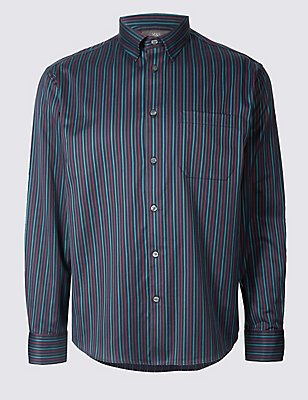 Luxury Pure Cotton Striped Shirt , NAVY MIX, catlanding