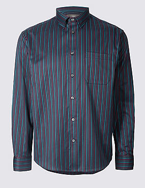 Chemise 100% coton à rayures avec poche, BLEU MARINE ASSORTI, catlanding