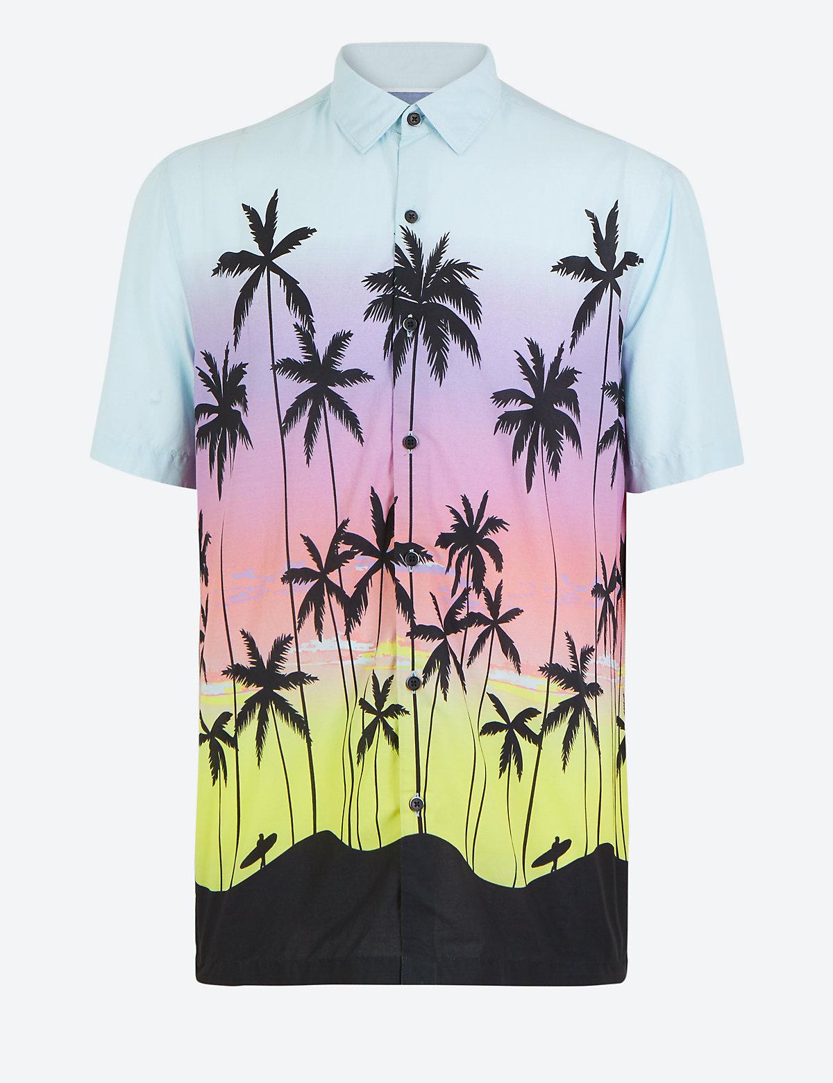 Хлопковая рубашка с крупным принтом Пальмы