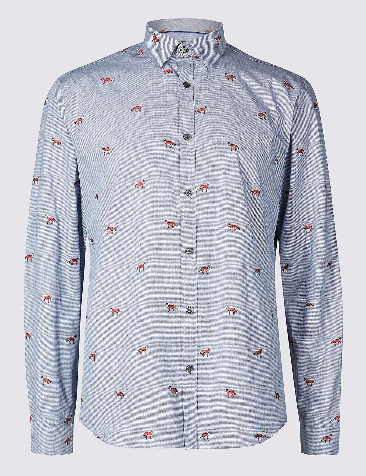 Рубашка из 100% хлопка с принтом