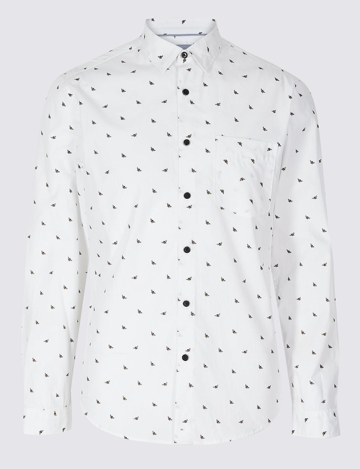 Рубашка узкого кроя из 100% хлопока с принтом и карманами
