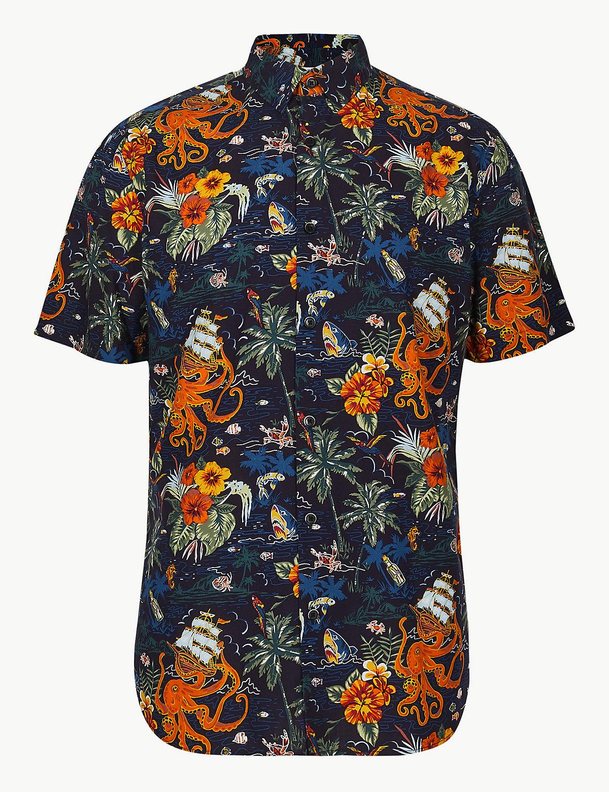 Хлопковая мужская рубашка с гавайским принтом