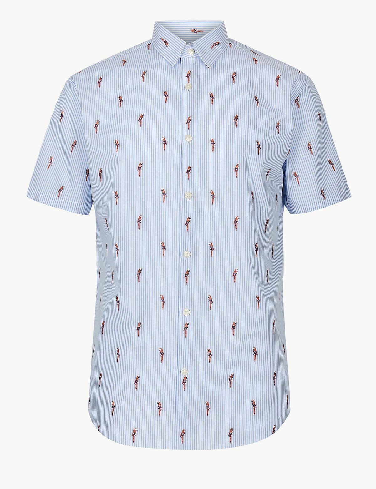 Рубашка с принтом Попугай и коротким рукавом