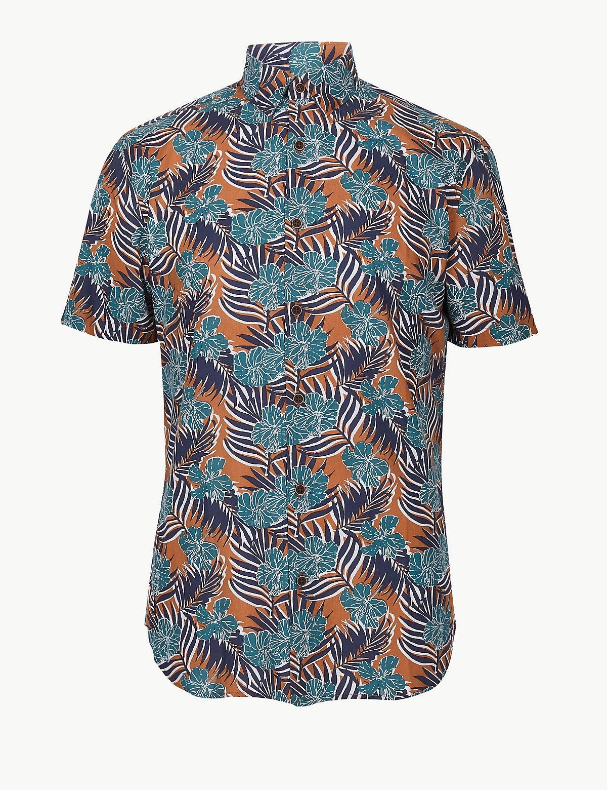 Мужская рубашка с принтом Гибискус