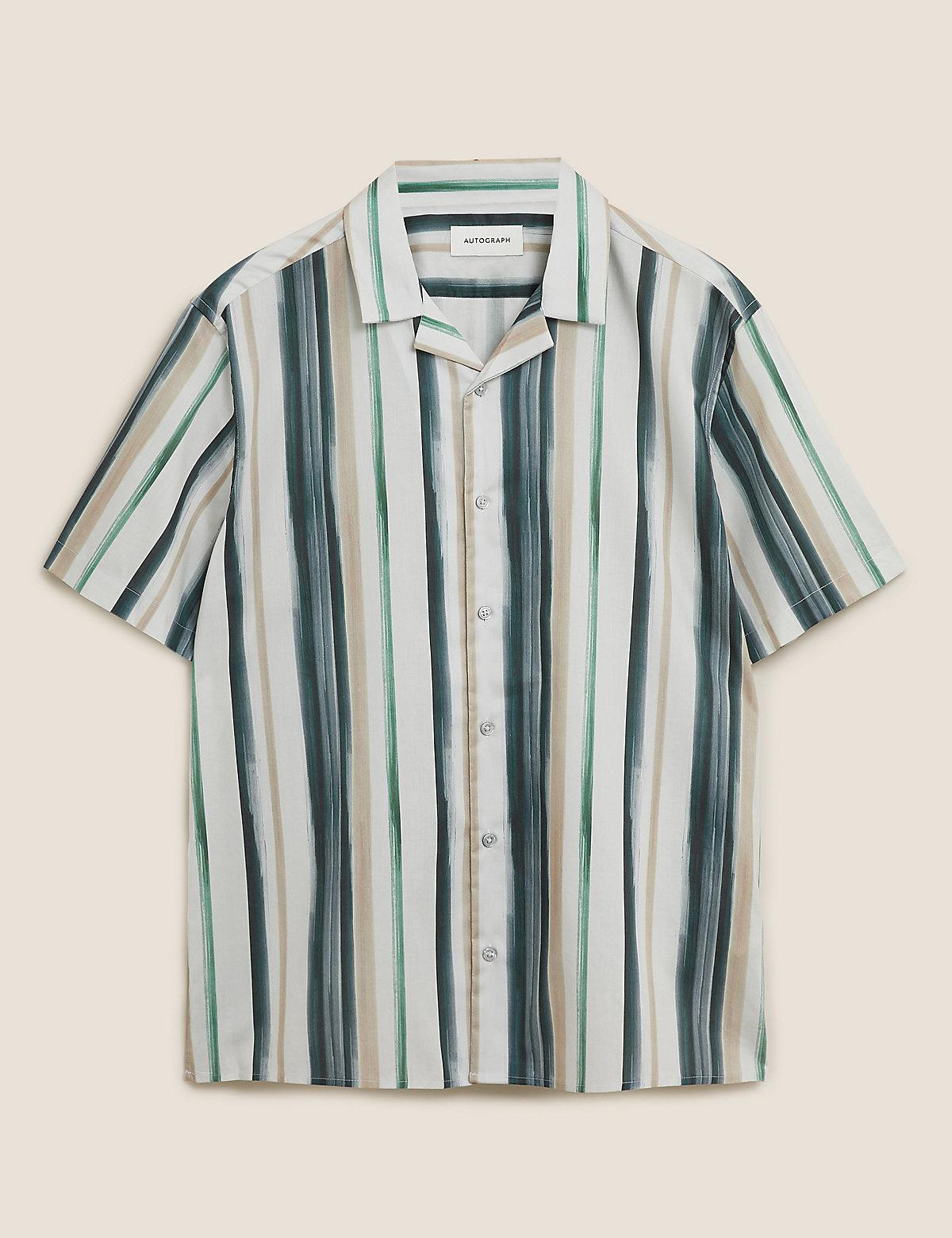 Рубашка хлопковая в полоску с коротким рукавом
