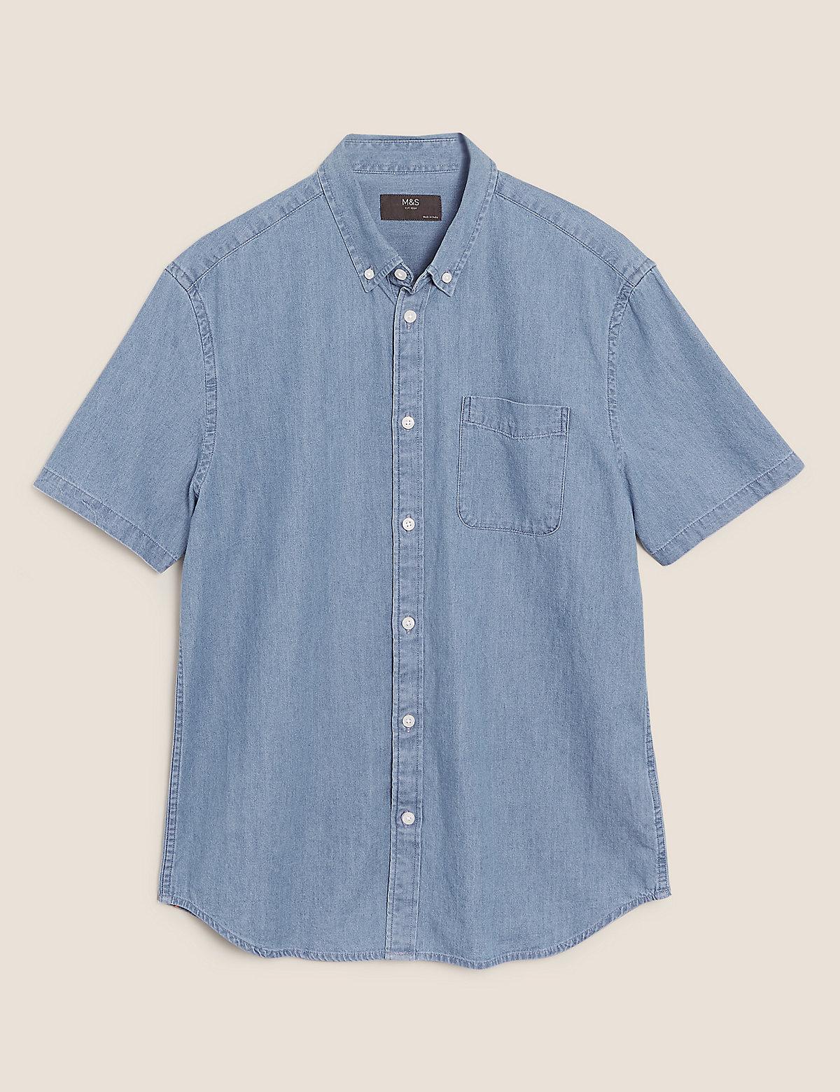 Джинсовая рубашка из чистого хлопка
