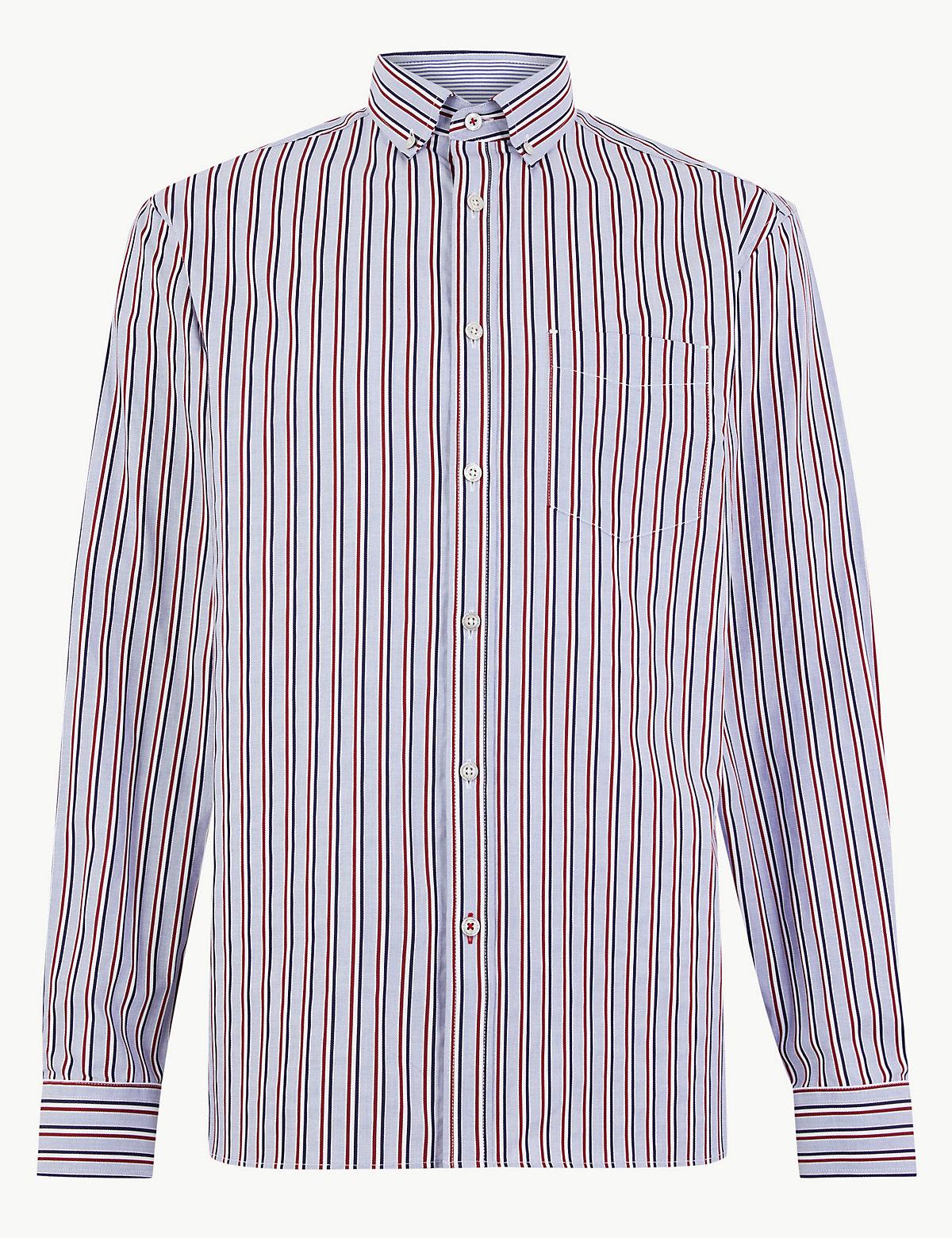 Рубашка с длинным рукавом из чистого хлопка в полоску