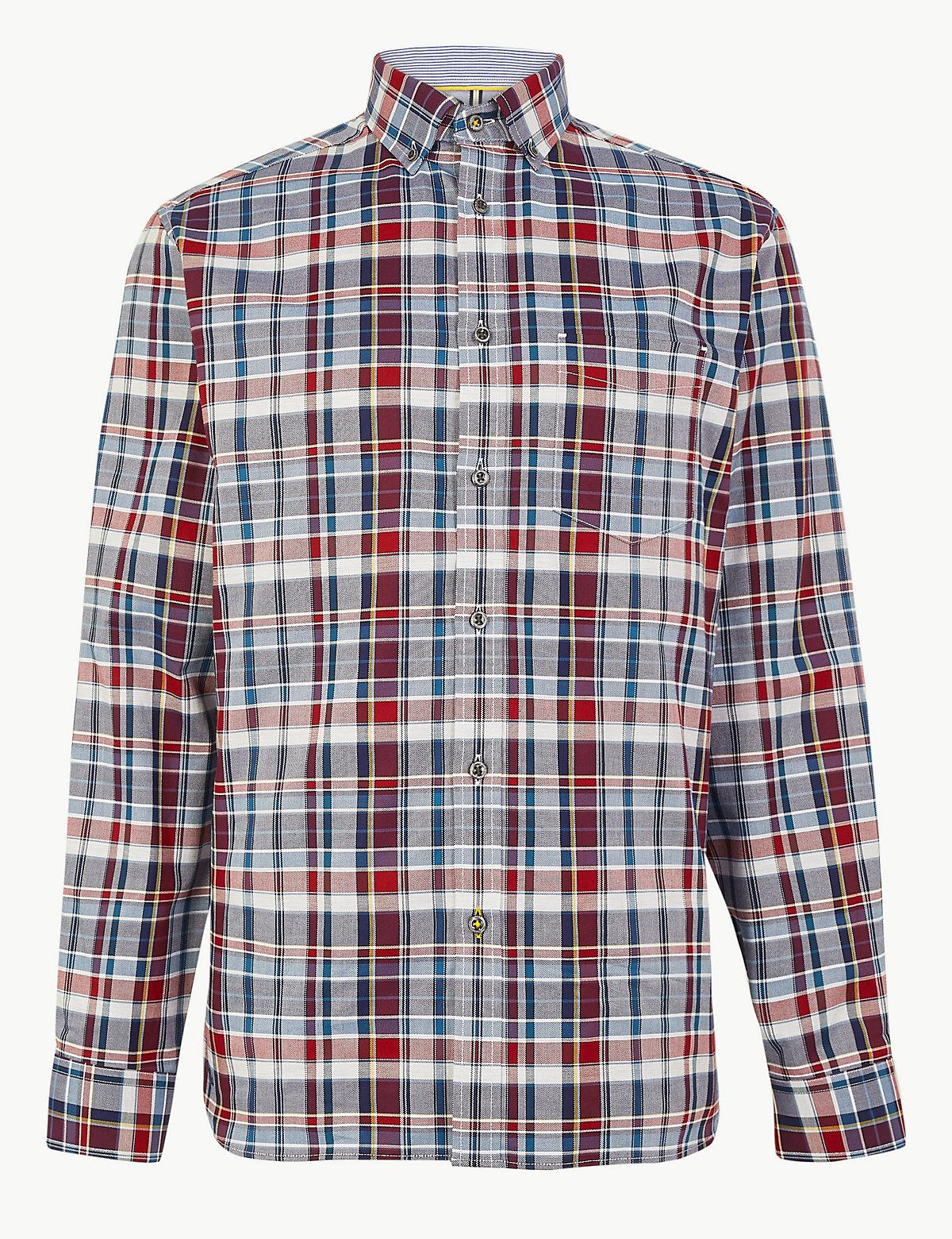 Рубашка в клетку с длинным рукавом свободного кроя
