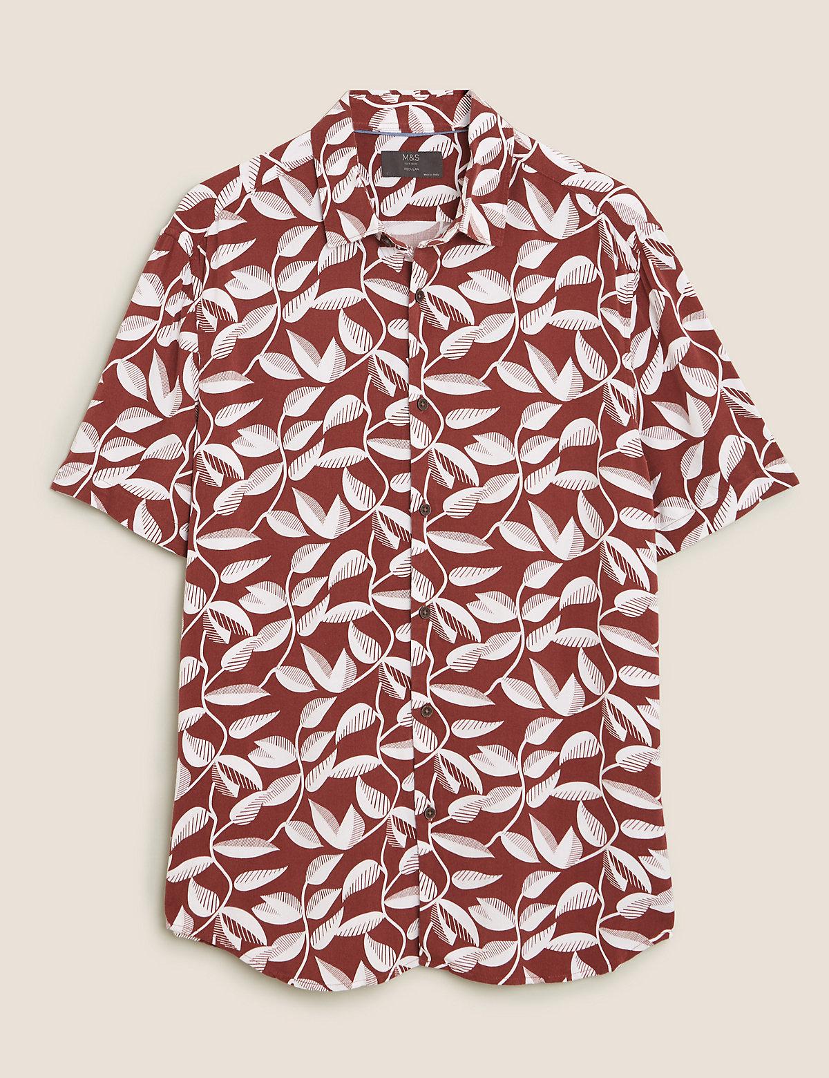 Рубашка с лиственным принтом классического кроя