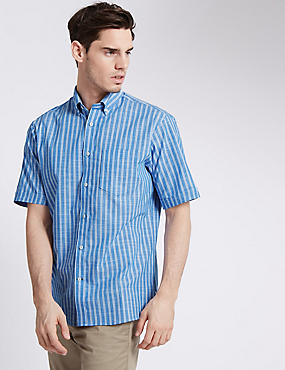 Pure Cotton Striped Shirt with Pocket, CORNFLOWER, catlanding