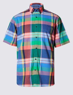 Рубашка из чистого хлопка в яркую клетку мадрас