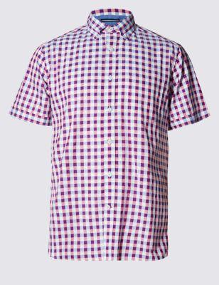 Слегка приталенная рубашка из чистого хлопка в яркую блочную клетку