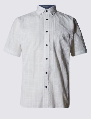 Рубашка из чистого хлопка в текстурную клетку