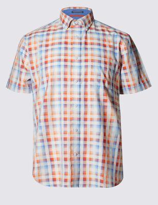 Рубашка из чистого хлопка в блочную неоновую клетку
