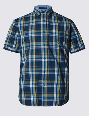 Слегка приталенная рубашка из чистого хлопка в разноцветную клетку