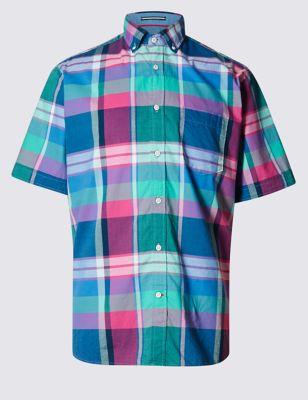 Рубашка из чистого хлопка в крупную клетку