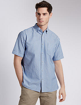 Pure Cotton Striped Shirt with Pocket, NAVY, catlanding