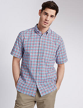 Pure Cotton Seersucker Checked Shirt, PINK MIX, catlanding