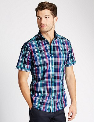 Pure Cotton Short Sleeve Checked Shirt, MULTI, catlanding