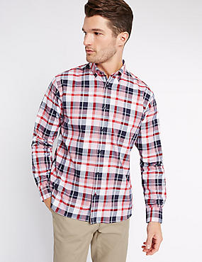Pure Cotton Checked Shirt, MEDIUM RED, catlanding