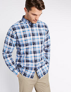 Pure Cotton Checked Shirt, BLUE, catlanding