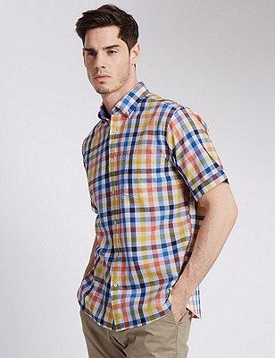 XXXL Pure Cotton Gingham Checked Shirt, MANGO, catlanding