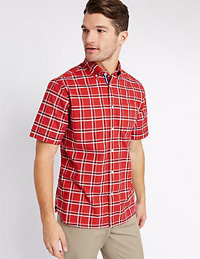 Cotton Rich Oxford Shirt with Pocket, MEDIUM RED, catlanding