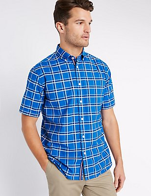 Checked Oxford Shirt with Pocket, BLUE, catlanding