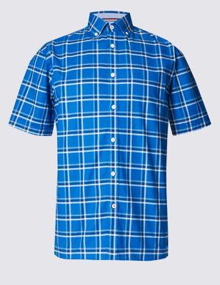 Рубашка Oxford в клетку Blue Harbour T255669B