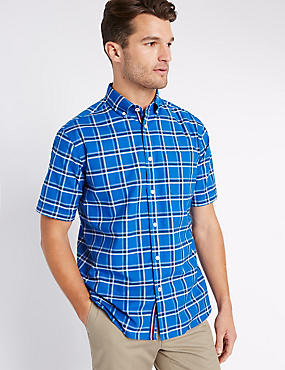Big & Tall Checked Oxford Shirt, BLUE, catlanding