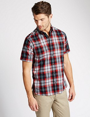 Big and tall Short Sleeve Shirt, RED, catlanding