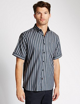 Luxury Pure Cotton Short Sleeve Striped Shirt, TWILIGHT, catlanding