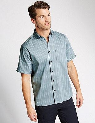 Luxury Pure Cotton Short Sleeve Striped Shirt, SMOKEY BLUE, catlanding