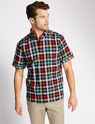 Pure Cotton Short Sleeve Block Checked Shirt, LIGHT TEAL, catlanding