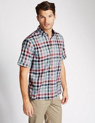 Pure Cotton Short Sleeve Block Checked Shirt, WHITE MIX, catlanding